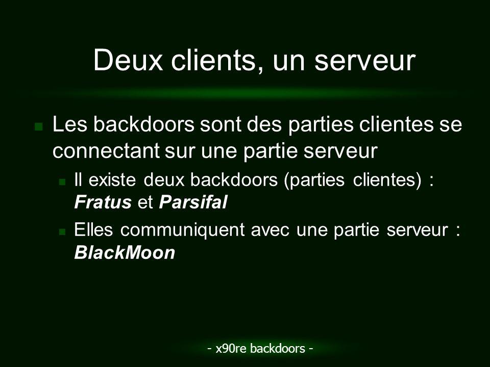 - x90re backdoors - Deux clients, un serveur Les backdoors sont des parties clientes se connectant sur une partie serveur Il existe deux backdoors (pa