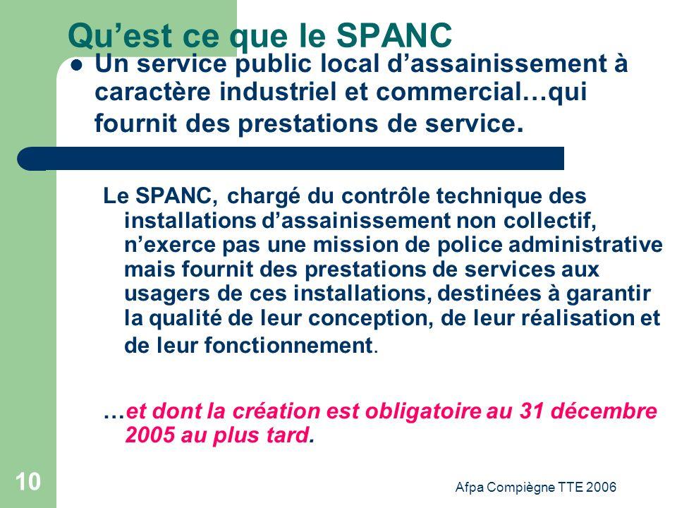 Afpa Compiègne TTE 2006 10 Quest ce que le SPANC Un service public local dassainissement à caractère industriel et commercial…qui fournit des prestati