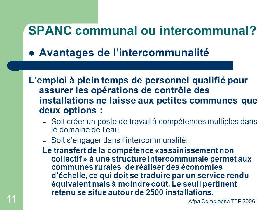 Afpa Compiègne TTE 2006 11 SPANC communal ou intercommunal? Avantages de lintercommunalité Lemploi à plein temps de personnel qualifié pour assurer le