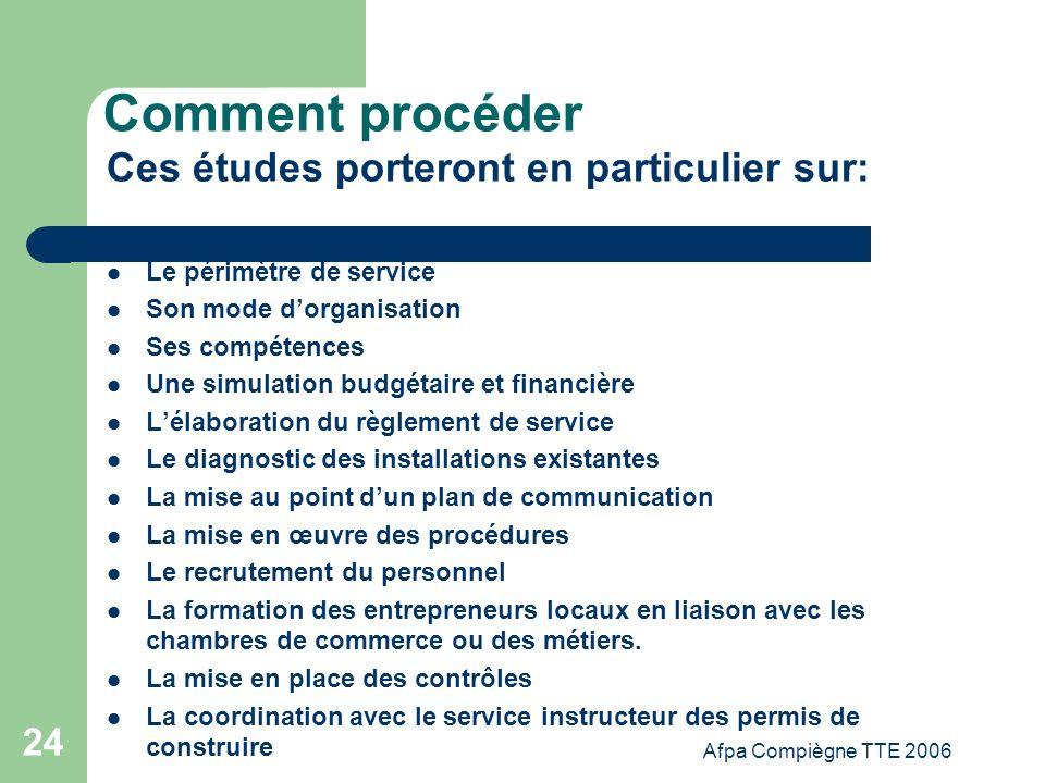 Afpa Compiègne TTE 2006 24 Comment procéder Ces études porteront en particulier sur: Le périmètre de service Son mode dorganisation Ses compétences Un