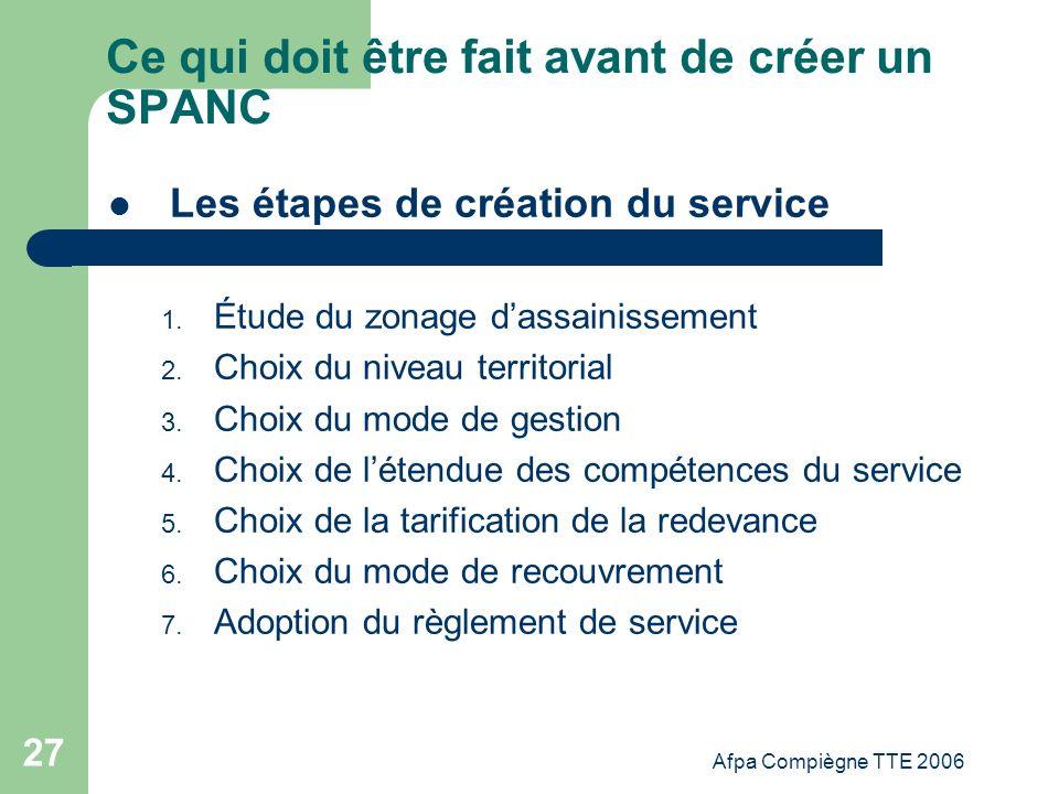 Afpa Compiègne TTE 2006 27 Ce qui doit être fait avant de créer un SPANC Les étapes de création du service 1. Étude du zonage dassainissement 2. Choix