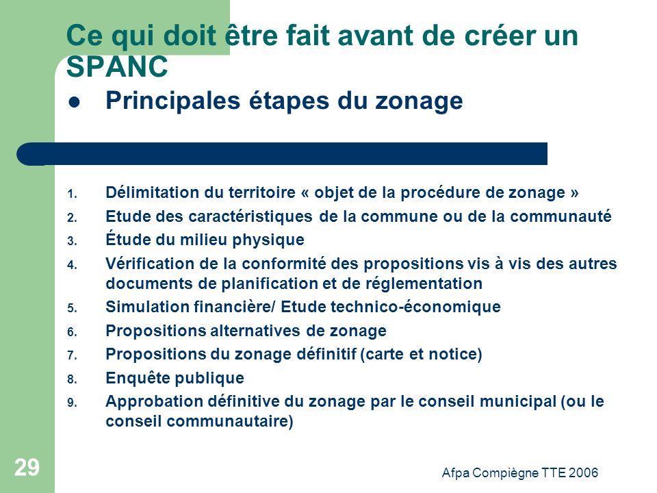 Afpa Compiègne TTE 2006 29 Ce qui doit être fait avant de créer un SPANC Principales étapes du zonage 1. Délimitation du territoire « objet de la proc