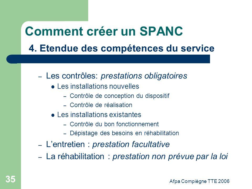 Afpa Compiègne TTE 2006 35 Comment créer un SPANC 4. Etendue des compétences du service – Les contrôles: prestations obligatoires Les installations no