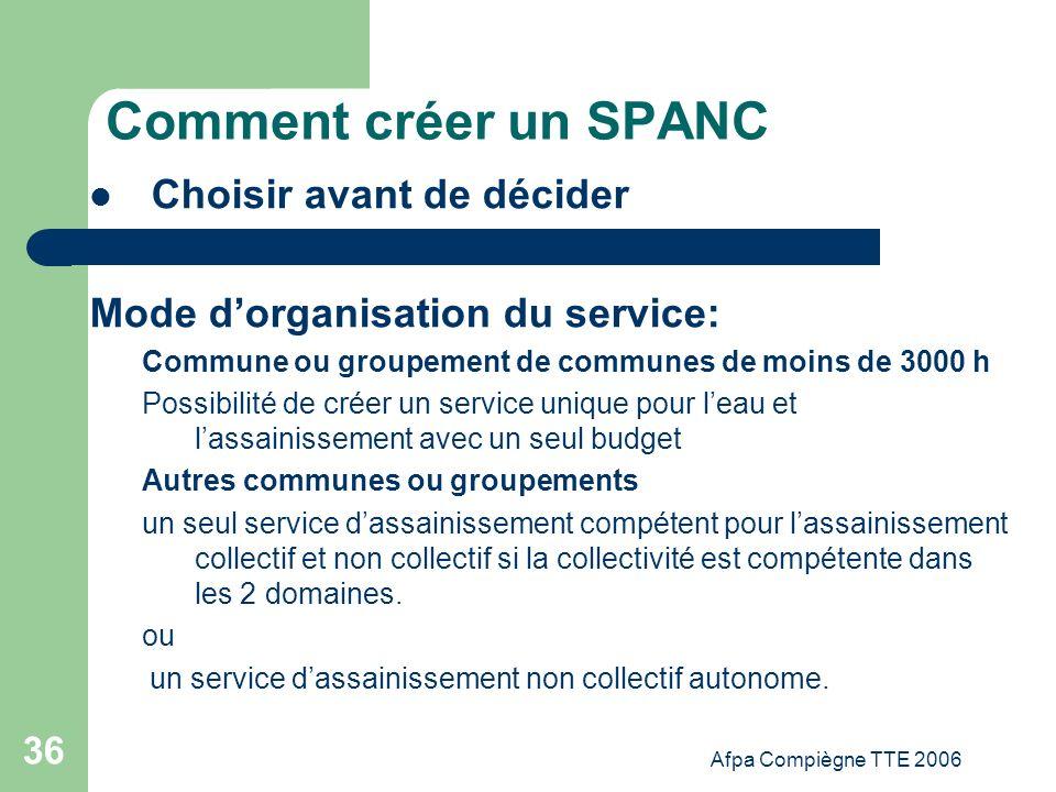 Afpa Compiègne TTE 2006 36 Comment créer un SPANC Choisir avant de décider Mode dorganisation du service: Commune ou groupement de communes de moins d