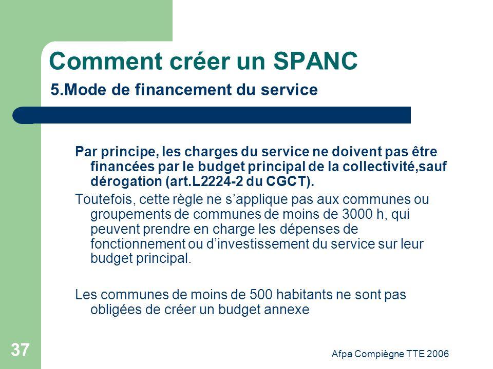 Afpa Compiègne TTE 2006 37 Comment créer un SPANC 5.Mode de financement du service Par principe, les charges du service ne doivent pas être financées