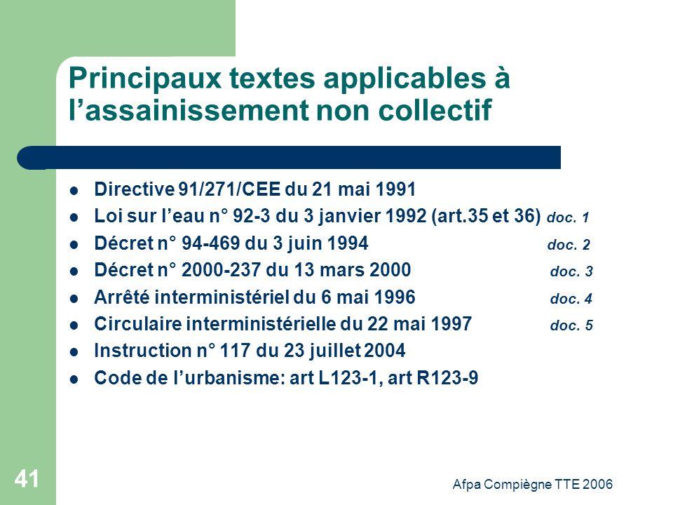 Afpa Compiègne TTE 2006 41 Principaux textes applicables à lassainissement non collectif Directive 91/271/CEE du 21 mai 1991 Loi sur leau n° 92-3 du 3