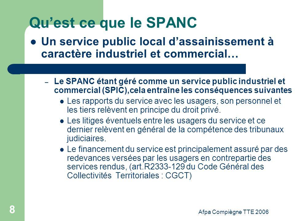 Afpa Compiègne TTE 2006 39 Comment créer un SPANC 7.Le règlement du service dassainissement Après avoir effectué un choix judicieux dun mode de gestion de service, il convient de mettre en place un cadre précis de relations avec lusager.
