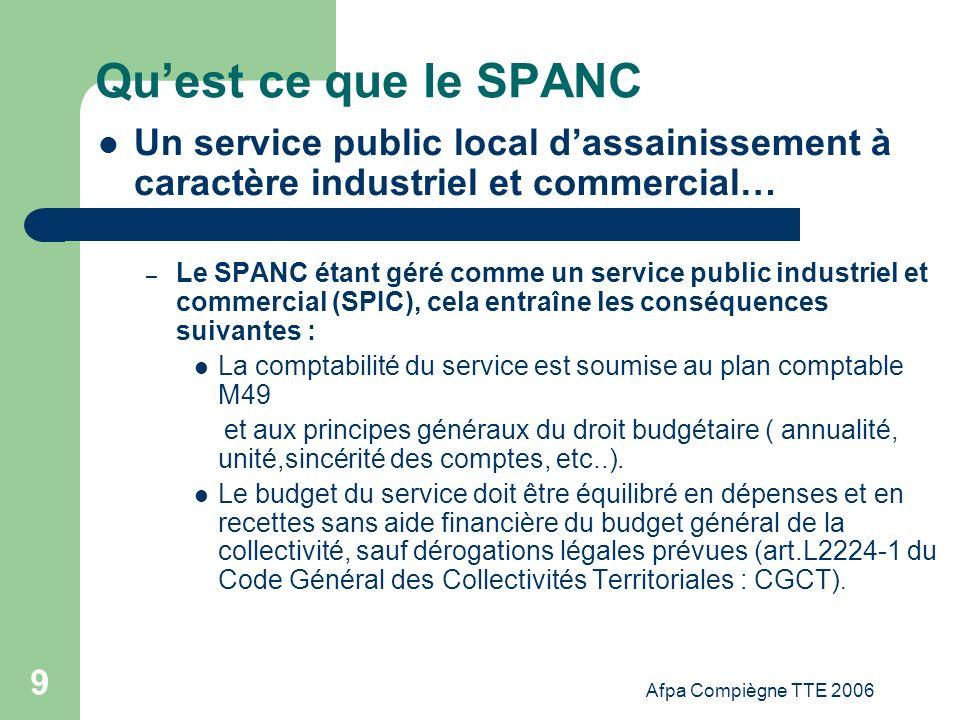 Afpa Compiègne TTE 2006 9 Quest ce que le SPANC Un service public local dassainissement à caractère industriel et commercial… – Le SPANC étant géré co