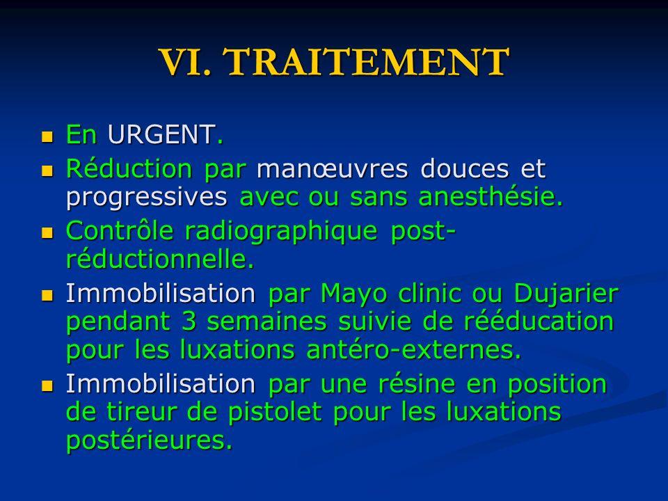 VI. TRAITEMENT En URGENT. En URGENT. Réduction par manœuvres douces et progressives avec ou sans anesthésie. Réduction par manœuvres douces et progres