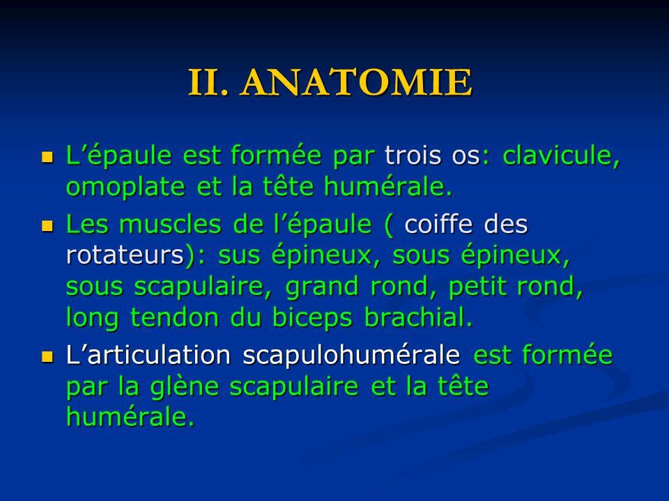 II. ANATOMIE Lépaule est formée par trois os: clavicule, omoplate et la tête humérale. Lépaule est formée par trois os: clavicule, omoplate et la tête