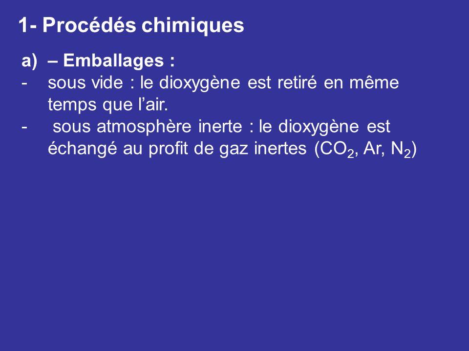 1- Procédés chimiques a)– Emballages : -sous vide : le dioxygène est retiré en même temps que lair. - sous atmosphère inerte : le dioxygène est échang