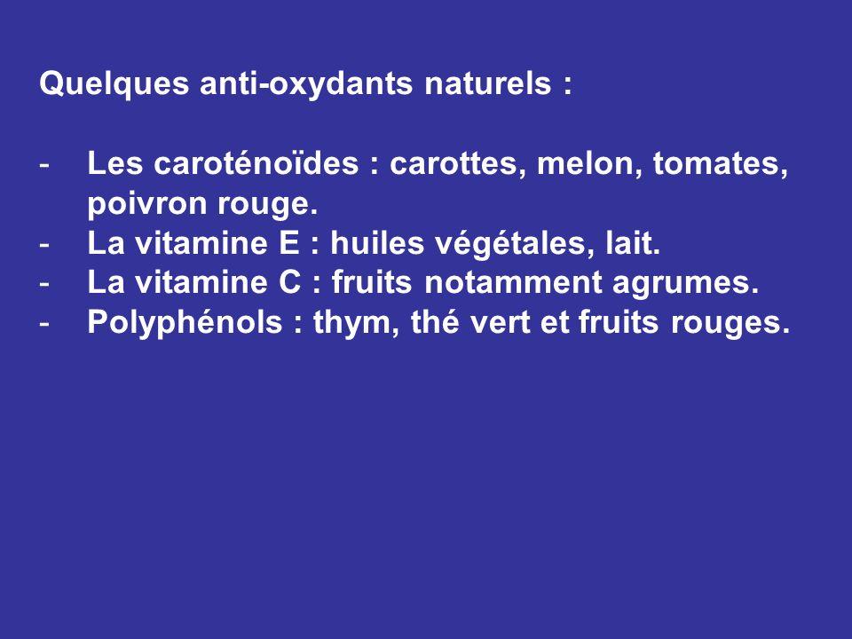 Quelques anti-oxydants naturels : -Les caroténoïdes : carottes, melon, tomates, poivron rouge. -La vitamine E : huiles végétales, lait. -La vitamine C