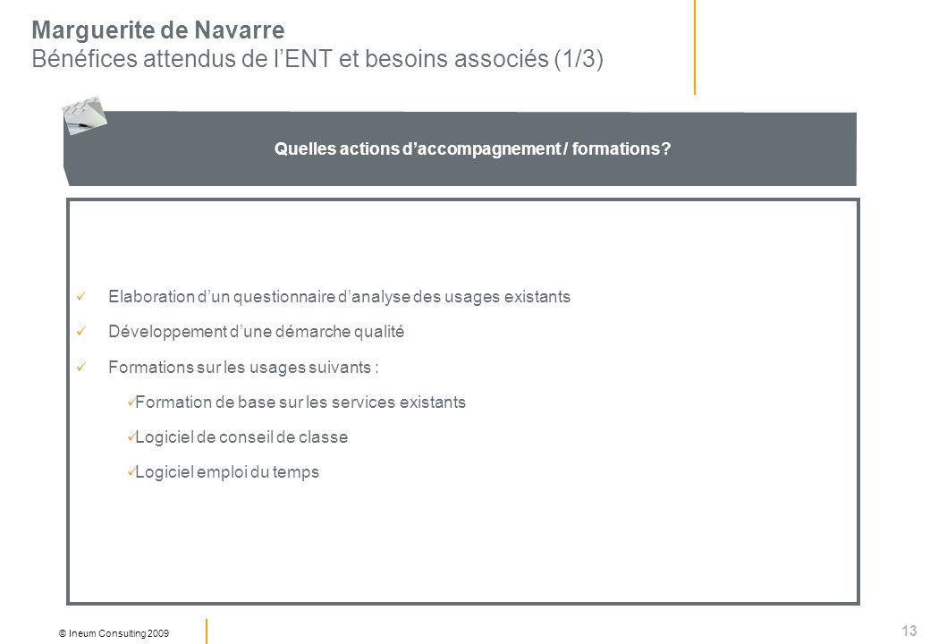13 © Ineum Consulting 2009 Marguerite de Navarre Bénéfices attendus de lENT et besoins associés (1/3) Quelles actions daccompagnement / formations.