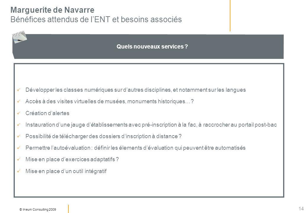 14 © Ineum Consulting 2009 Marguerite de Navarre Bénéfices attendus de lENT et besoins associés Quels nouveaux services .