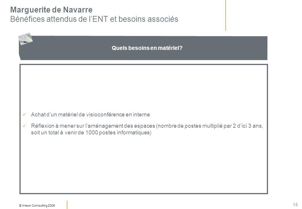 15 © Ineum Consulting 2009 Marguerite de Navarre Bénéfices attendus de lENT et besoins associés Quels besoins en matériel.