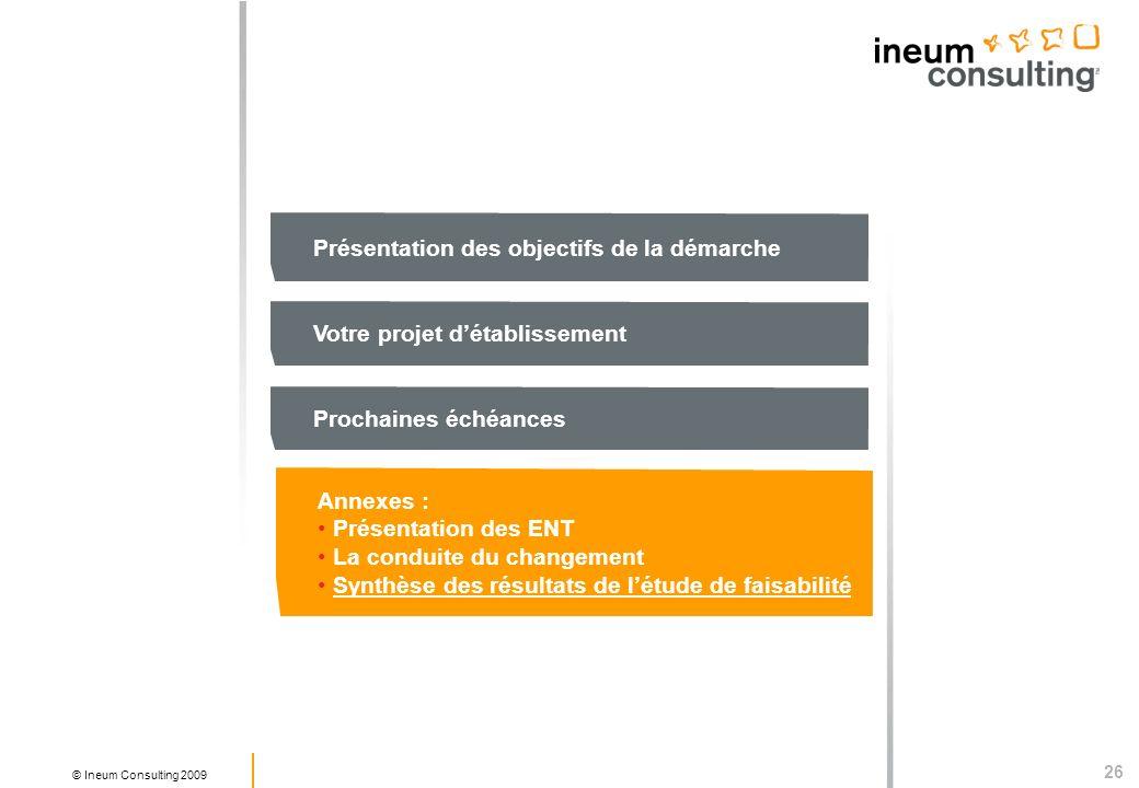 26 © Ineum Consulting 2009 Présentation des objectifs de la démarche Votre projet détablissement Prochaines échéances Annexes : Présentation des ENT La conduite du changement Synthèse des résultats de létude de faisabilité