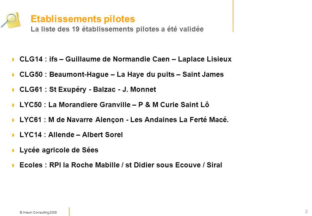 3 © Ineum Consulting 2009 CLG14 : ifs – Guillaume de Normandie Caen – Laplace Lisieux CLG50 : Beaumont-Hague – La Haye du puits – Saint James CLG61 : St Exupéry - Balzac - J.
