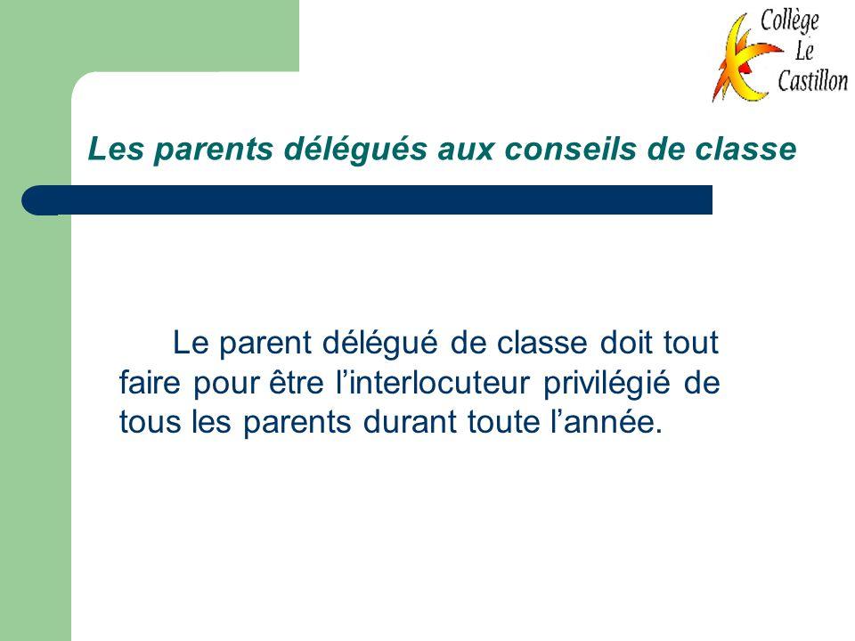 Les parents délégués aux conseils de classe Le parent délégué de classe doit tout faire pour être linterlocuteur privilégié de tous les parents durant