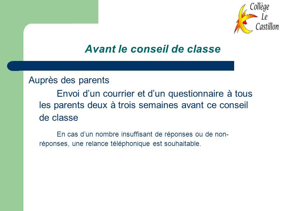 Avant le conseil de classe Auprès des parents Envoi dun courrier et dun questionnaire à tous les parents deux à trois semaines avant ce conseil de cla