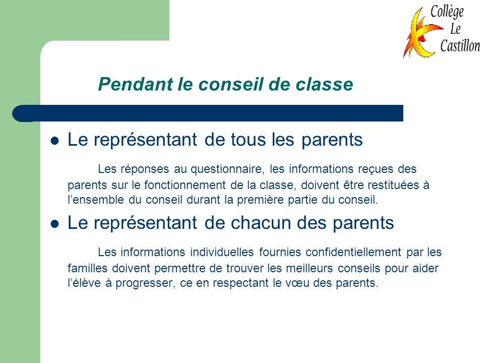 Pendant le conseil de classe Le représentant de tous les parents Les réponses au questionnaire, les informations reçues des parents sur le fonctionnem