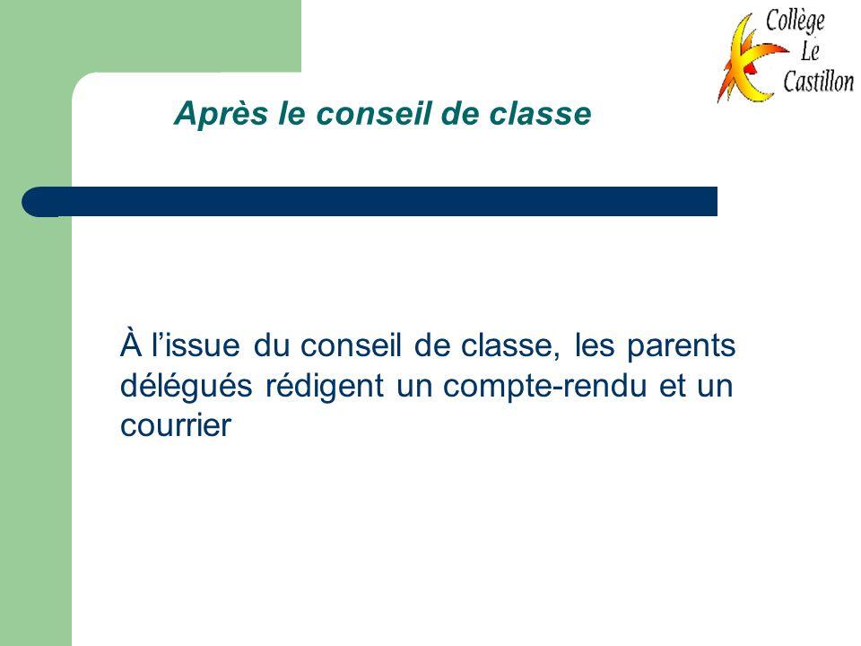 Après le conseil de classe À lissue du conseil de classe, les parents délégués rédigent un compte-rendu et un courrier