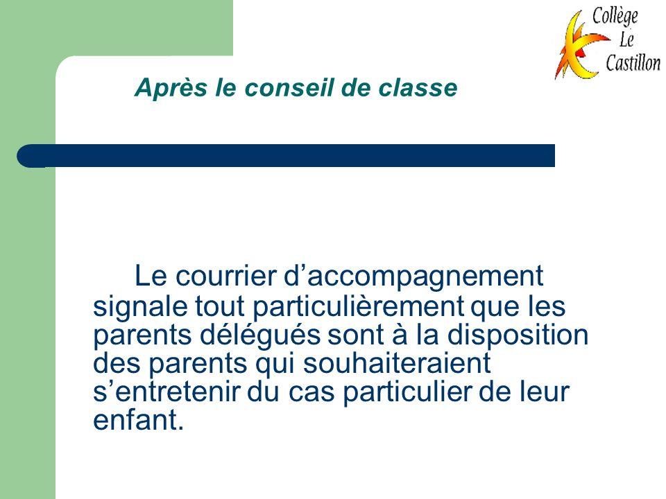 Après le conseil de classe Le courrier daccompagnement signale tout particulièrement que les parents délégués sont à la disposition des parents qui so
