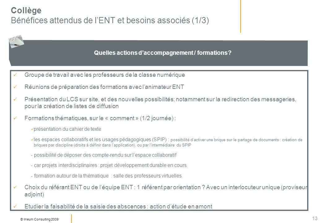 13 © Ineum Consulting 2009 Collège Bénéfices attendus de lENT et besoins associés (1/3) Quelles actions daccompagnement / formations.