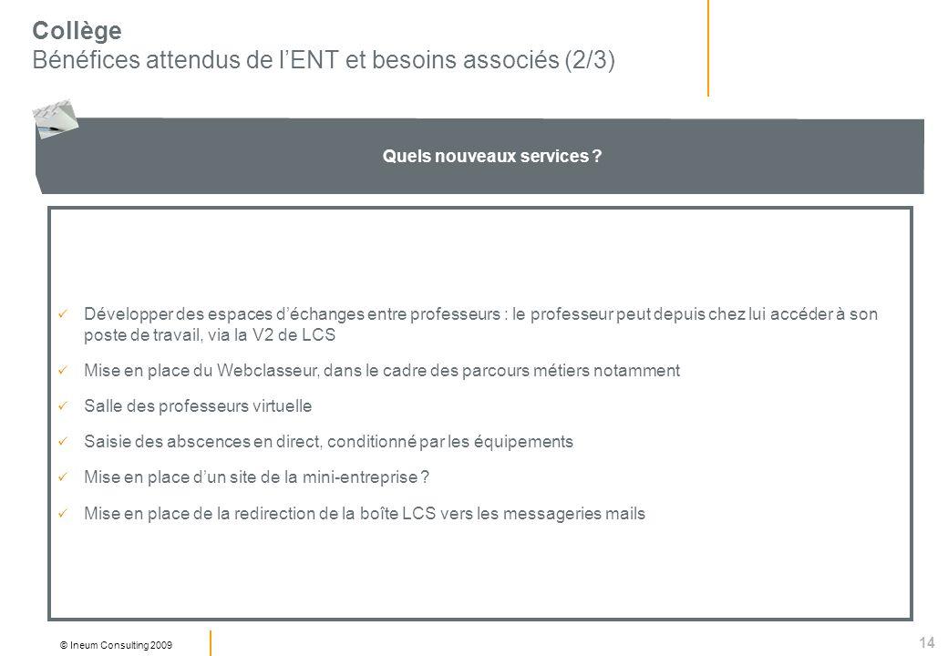 14 © Ineum Consulting 2009 Collège Bénéfices attendus de lENT et besoins associés (2/3) Quels nouveaux services .