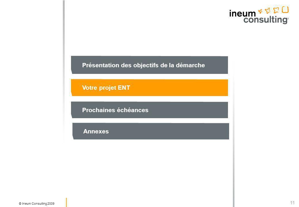 11 © Ineum Consulting 2009 Présentation des objectifs de la démarche Votre projet ENT Prochaines échéances Annexes