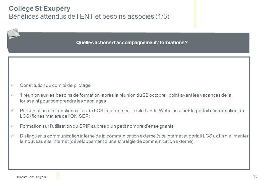 13 © Ineum Consulting 2009 Collège St Exupéry Bénéfices attendus de lENT et besoins associés (1/3) Quelles actions daccompagnement / formations.