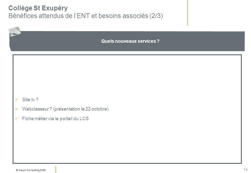 14 © Ineum Consulting 2009 Collège St Exupéry Bénéfices attendus de lENT et besoins associés (2/3) Quels nouveaux services .