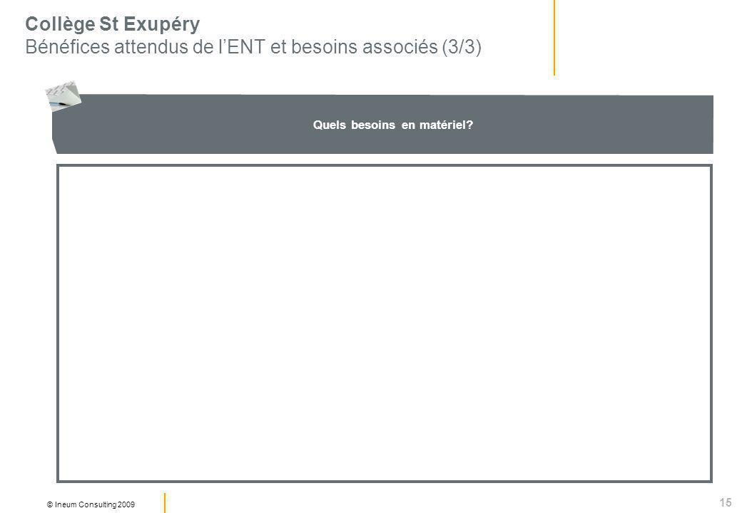 15 © Ineum Consulting 2009 Collège St Exupéry Bénéfices attendus de lENT et besoins associés (3/3) Quels besoins en matériel