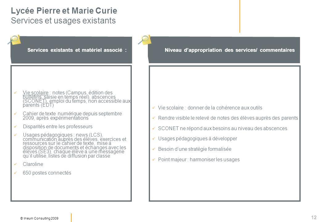 12 © Ineum Consulting 2009 Lycée Pierre et Marie Curie Services et usages existants Niveau dappropriation des services/ commentaires Services existant