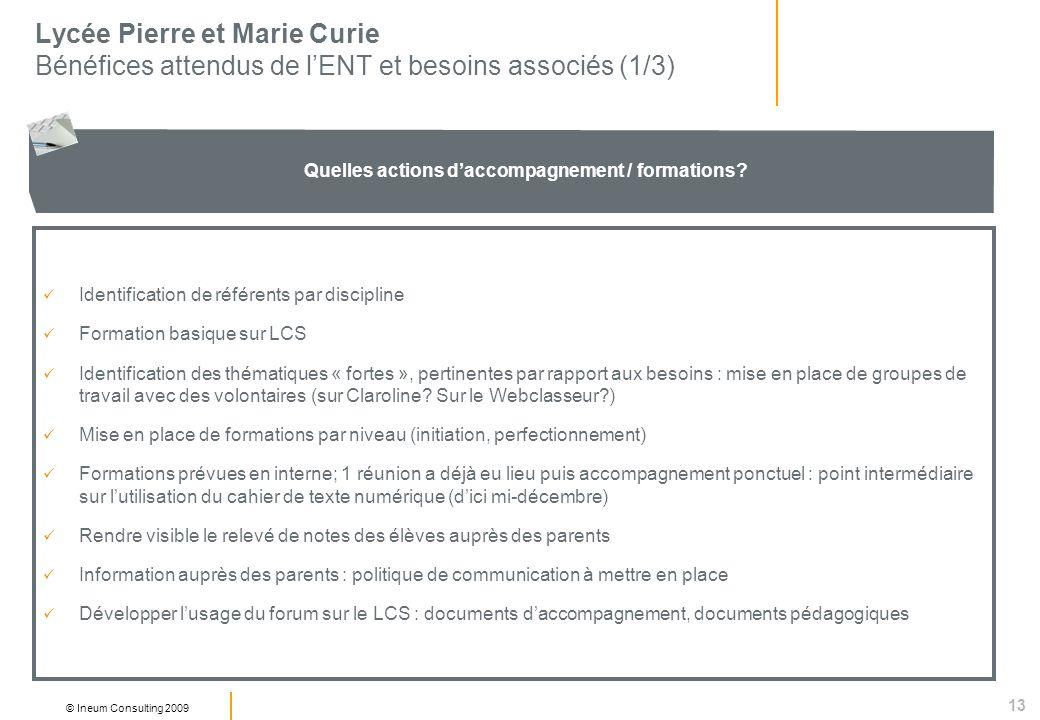 13 © Ineum Consulting 2009 Lycée Pierre et Marie Curie Bénéfices attendus de lENT et besoins associés (1/3) Quelles actions daccompagnement / formations.