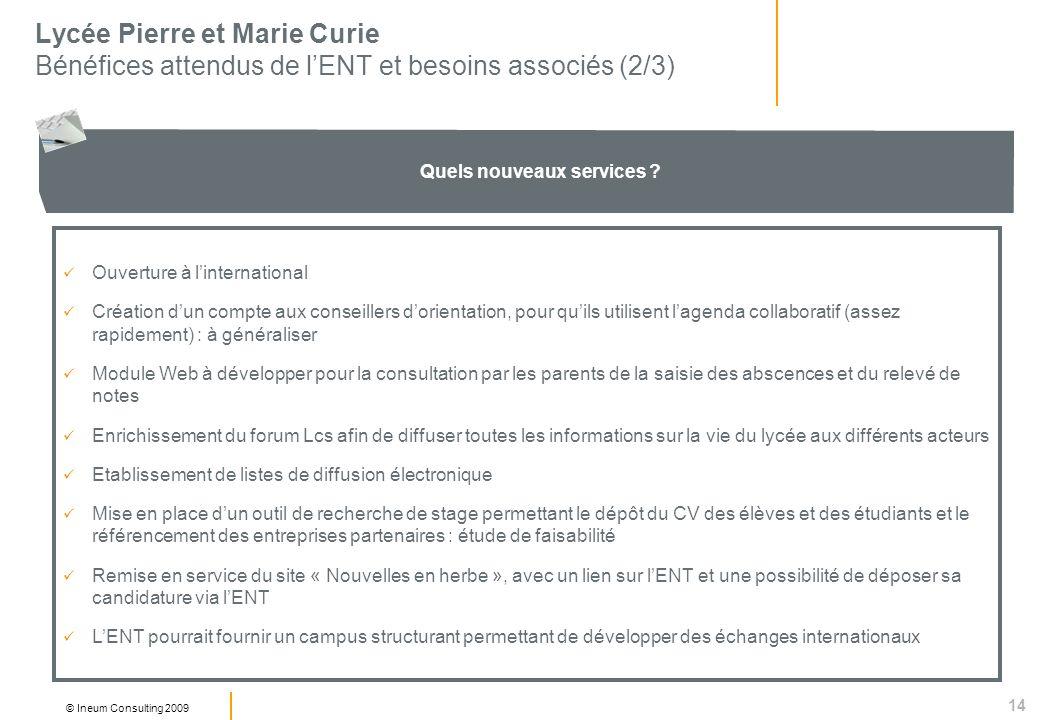 14 © Ineum Consulting 2009 Lycée Pierre et Marie Curie Bénéfices attendus de lENT et besoins associés (2/3) Quels nouveaux services ? Ouverture à lint