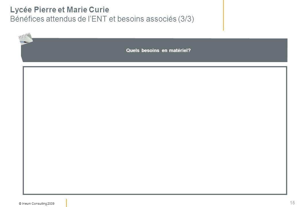 15 © Ineum Consulting 2009 Lycée Pierre et Marie Curie Bénéfices attendus de lENT et besoins associés (3/3) Quels besoins en matériel?
