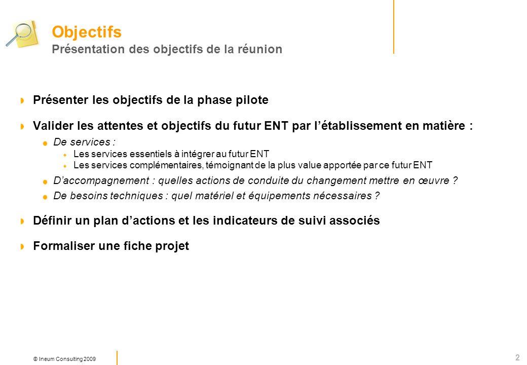 2 © Ineum Consulting 2009 Présenter les objectifs de la phase pilote Valider les attentes et objectifs du futur ENT par létablissement en matière : De