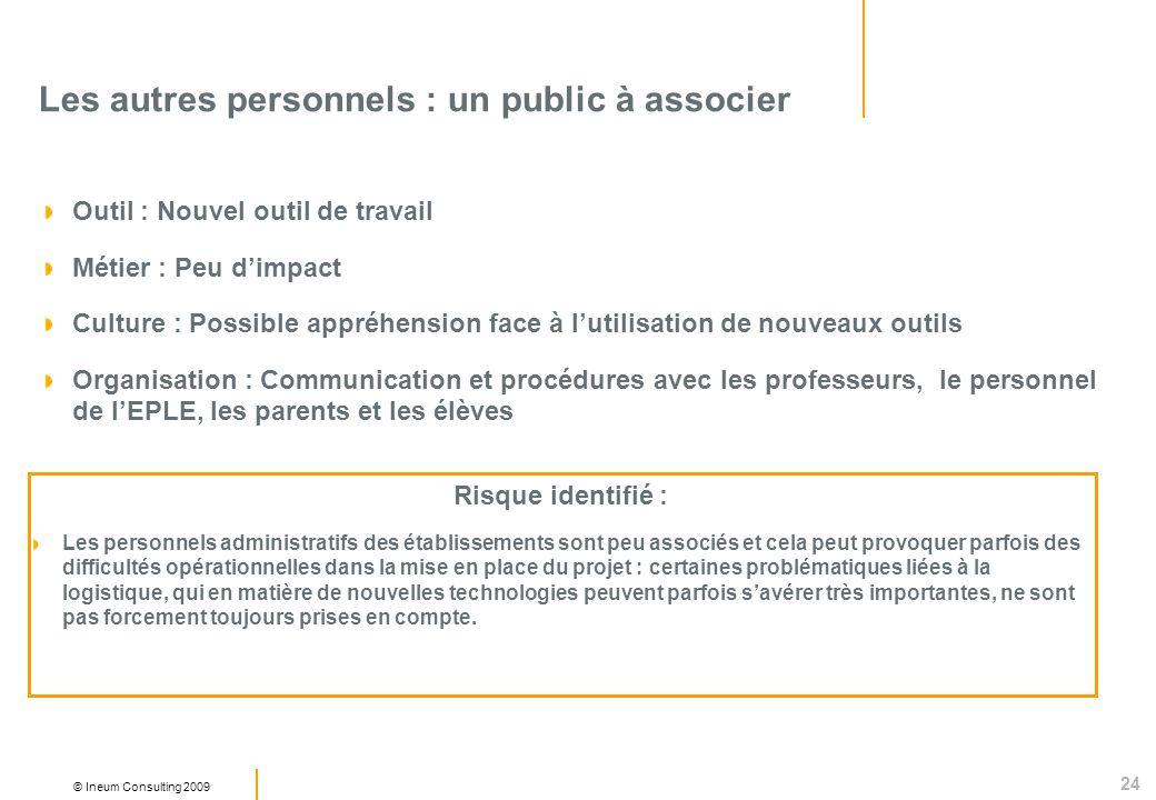 24 © Ineum Consulting 2009 Les autres personnels : un public à associer Outil : Nouvel outil de travail Métier : Peu dimpact Culture : Possible appréh