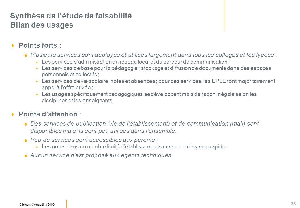 28 © Ineum Consulting 2009 Synthèse de létude de faisabilité Bilan des usages Points forts : Plusieurs services sont déployés et utilisés largement da
