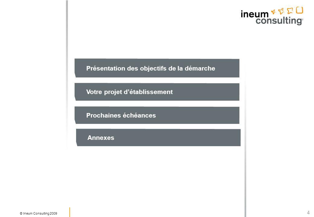 4 © Ineum Consulting 2009 Présentation des objectifs de la démarche Votre projet détablissement Prochaines échéances Annexes