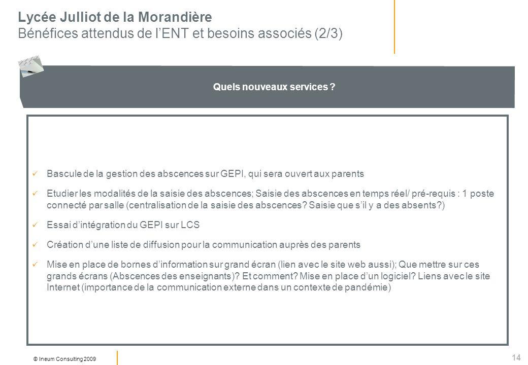 14 © Ineum Consulting 2009 Lycée Julliot de la Morandière Bénéfices attendus de lENT et besoins associés (2/3) Quels nouveaux services .