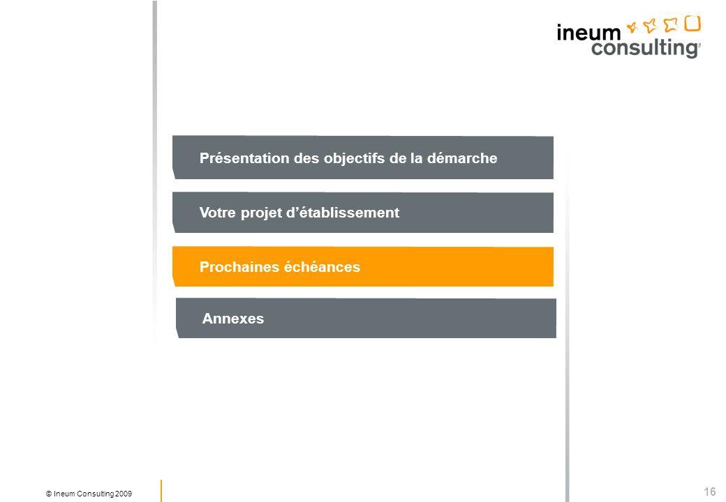 16 © Ineum Consulting 2009 Présentation des objectifs de la démarche Votre projet détablissement Prochaines échéances Annexes