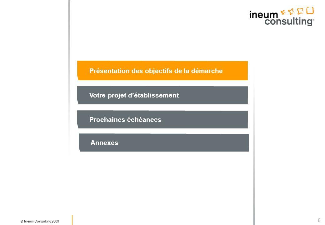 6 © Ineum Consulting 2009 Objectif 1 : Préconfigurer le dispositif daccompagnement pour favoriser le développement des usages Objectif 2 : Identifier les plus-values dun futur ENT par rapport à lexistant : Quels services disponibles aujourdhui dans les établissements et non utilisés .