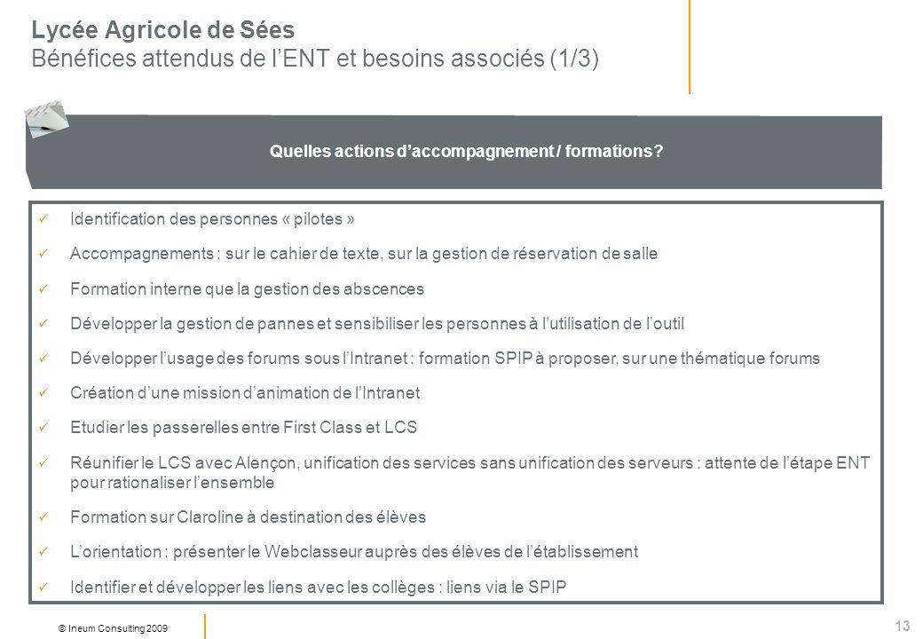 13 © Ineum Consulting 2009 Lycée Agricole de Sées Bénéfices attendus de lENT et besoins associés (1/3) Quelles actions daccompagnement / formations.