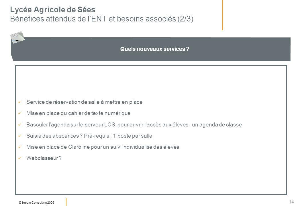 14 © Ineum Consulting 2009 Lycée Agricole de Sées Bénéfices attendus de lENT et besoins associés (2/3) Quels nouveaux services .