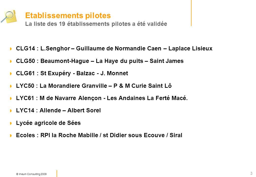 3 © Ineum Consulting 2009 CLG14 : L.Senghor – Guillaume de Normandie Caen – Laplace Lisieux CLG50 : Beaumont-Hague – La Haye du puits – Saint James CLG61 : St Exupéry - Balzac - J.