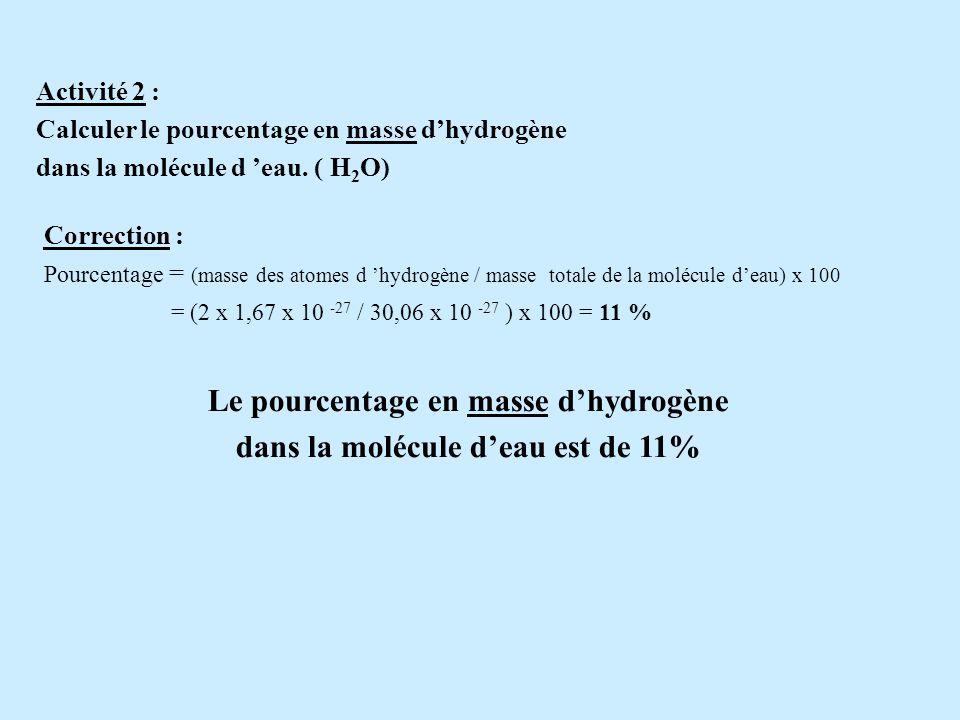 2 - Calcul des pourcentages en masse et en atomes Activité 1 : Calculer le pourcentage en atomes d hydrogène dans la molécule d eau. (H 2 O) Correctio