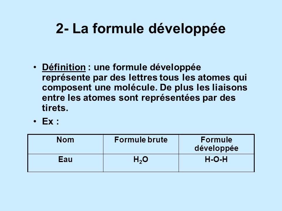 Règles décriture : lorsquil y a plusieurs atomes identiques dans une molécule, leur nombre est noté en indice, après le symbole chimique de latome. si