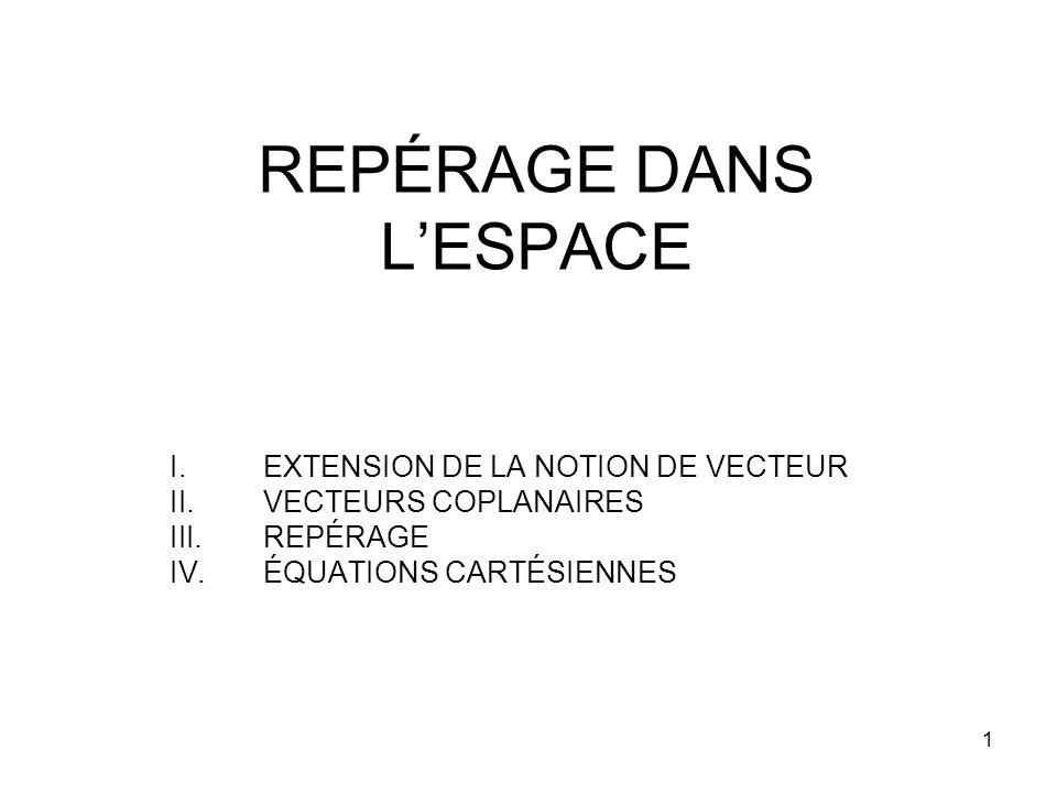 1 REPÉRAGE DANS LESPACE I.EXTENSION DE LA NOTION DE VECTEUR II.VECTEURS COPLANAIRES III.REPÉRAGE IV.ÉQUATIONS CARTÉSIENNES