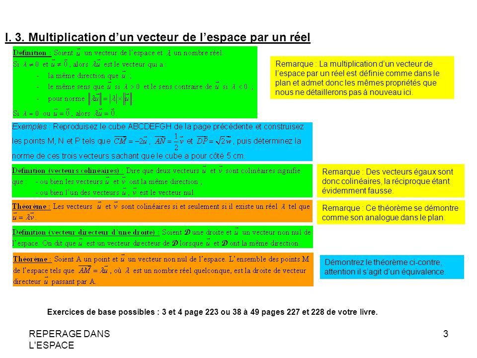 REPERAGE DANS L ESPACE 4 II.VECTEURS COPLANAIRES II.1.